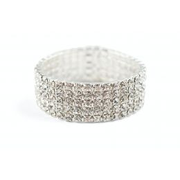 J-164 5 Row Clear Rhinestone Stretch Bracelet.