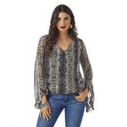 Wrangler Reptile Print Fashion Long Sleeve Womens Shirt LW5153M