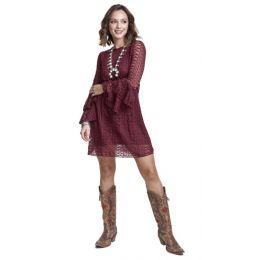 Wrangler Burgundy Womens Long Sleeve Western Fashion Dress LWD892N