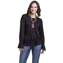 Wrangler Black Womens Long Sleeve Western Fashion Top LWK869X