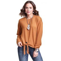 Wrangler Mustard Western Fashion Long Sleeve Tie Front Shirt MWK877Y