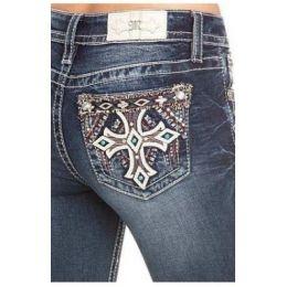 Miss Me Dark Wash Turquiose Cross Womens Bootcut Jeans M3437B