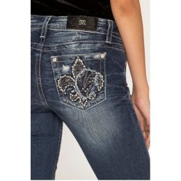 Miss Me Jeans Dark Wash Finallt Fleur Women's Straight Jeans M3465T