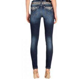 Miss Me Women's Dark Wash Leopard Faux Flap Skinny Jean M3480S
