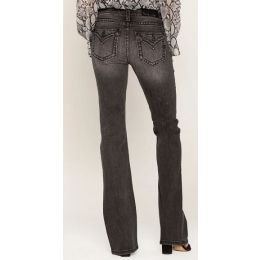 Miss Me Jeans Women's Grey Border Stitch Faux Flap Pocket Back In Classics Bootcut Jeans M5014B314