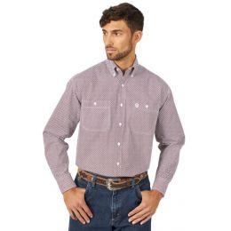 Wrangler Red/Black Mens George Strait Long Sleeve Shirt MGSR725