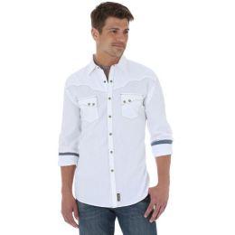 Wrangler White Mens Retro Long Sleeve Shirt MVR250W