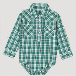 Wrangler Green/Ivory Baby Boy Long Sleeve Plaid Bodysuit with Western Snap Placket