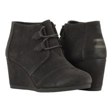 Toms Grey Suede Kala Womens Comfort Wedge Booties 10012957