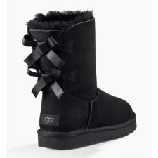 UGG Bailey Bow II Black Classic Womens Short Boots With Bows On Back 1016225-BLK
