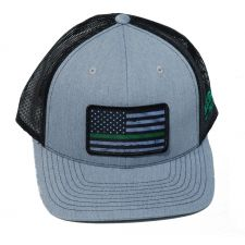 Richardson Custom Thin Green Line Flag Sublimation Patch Heather Grey/Black OSFM Ballcap 112HGBGREENLINE