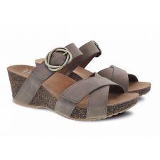 Dansko Susie Taupe Milled Nubuck Comfort Slide On Womens Wedge Sandals 3420-160600