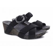 Dansko Susie Black Milled Nubuck Comfort Slide On Womens Wedge Sandals 3420-360200