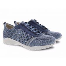 Dansko Denim Adrianne Washed Knit Comfort Casual Lace-Up Sneaker 4455-721872
