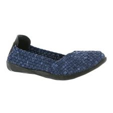 Catwalk-Navy Stretch Elastic Memory Foam Footbed Slip-On Flat Bernie Mev Womens Shoes