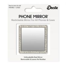 IDecoz Silver Square With Crystals Phone Mirror SQ723M