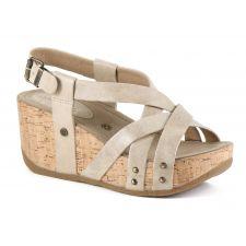 Bussola Gobba Doeskin Fabia Womens Adjustable Back Wedge Sandals FABIA