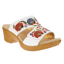 Alegria White Multi LINN Embroidered Leather Slip On Wedge Womens Sandals LIN-600