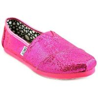 Toms Classic Slip-On Pink Glitter Canvas Kids Casual 001013C12HP