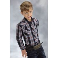 01-030-0101-1610 Plaid Long Sleeve Snap Boys Roper Western Shirt