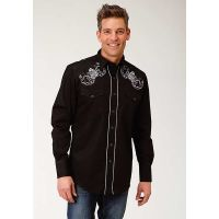 Karman Roper Black with White Rose Embroidery Mens Long Sleeve Snap Western Shirt 0300100400101BL