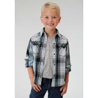 03-030-0062-0461 BL Plaid Boys Long Sleeve Snap Roper Western Shirt