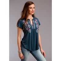 Karman Roper Heather Jersey Peasant Short Sleeve Womens Top 03-039-0513-3053-BU