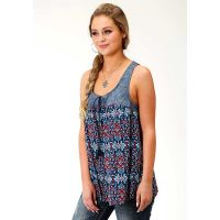 Karman Roper Sunset Tapestry Womens Tank Top 03-052-0590-2040 BU