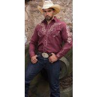 Rangers Wine Mens Western Shirt 051CA01