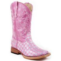Karman/Roper Square Toe Pink Bling Girls Western 09-18-1901-28PK