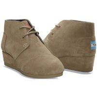 Toms Desert Wedge Taupe Suede Kids Ankle Boot 10003598