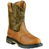 10008633 Aged Bark/Army Green Workhog Waterproof Ariat Mens Work Boots