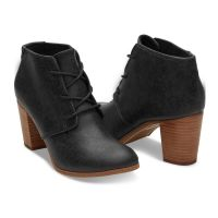 10008938 Black Metallic Synthetic Leather Lace-Up Toms Womens Boots