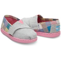 Toms Patchwork Velcro Grey Canvas Kids Casual 10009267