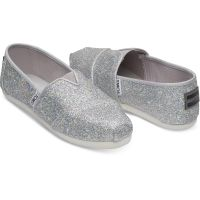 Toms Classic Slip-On Silver Glimmer Fabric Kids Casual 10011447