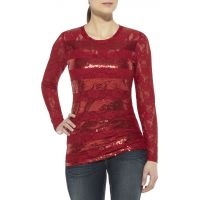 10011612 Red Lace Sequin Long Sleeve Ariat Womens Shirts