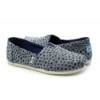 Toms Navy Slub Chambray Dots Espadrilles Womens Comfort Shoes 10011652