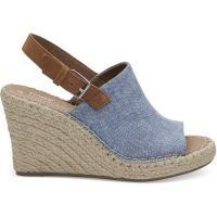 Toms Blue Chambray Monica Womens Rope Wedges 10011845T