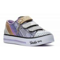 Skechers Twinkle Toes Shuffles Velcro Fabric Kids Sneaker 10628L-BKLV