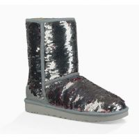 UGG Silver Classic Sequin Womens Short Boots 1094982