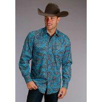 Karmen Roper Aquamarine Paisley Stetson Mens Long Sleeve Western Shirt 1100104250222BU