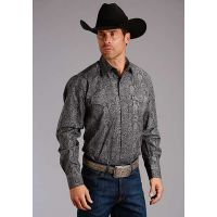 Karman Roper Gun Metal Paisley Stetson Mens Long Sleeve Western Shirt 1100104250636BL