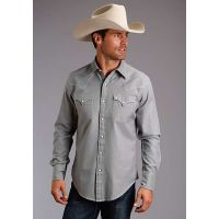 Karman Roper Solid Heather Grey Twill Stetson Mens Long Sleeve Western Shirt 1100104657002GY