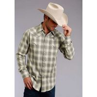 Karman Roper Heather Dobby Stetson Mens Long Sleeve Western Shirt 1100104780135GY