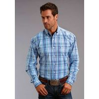 Karman Roper Blue Satin Plaid Stetson Mens Long Sleeve Western Shirt 1100105790461BU