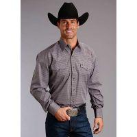 Karman Roper Buckeye Neat Stetson Mens Long Sleeve Western Shirt 1100109250632WI