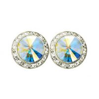 J-111EX 20mm Deluxe Rhinestone Earrings Framed with Stones.