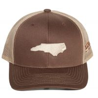 Richardson Brown/Khaki Mesh Back Trucker Ball Cap with Embroidered NC State Outline 112-BNK-EMB
