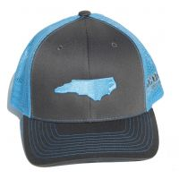 Richardson Charcoal/Blue Mesh Back Trucker Ball Cap with Embroidered NC State Outline 112-CHCBL-EMB