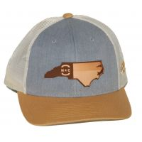 Richardson Heather Grey with Beige Mesh Back Trucker Ball Cap with Leather NC State Outiline 115-HGBIAG-NCHP